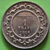 TUNISIE 1 FRANC 1916 A ARGENT qualité
