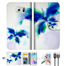 Blue Butterfly Wallet Case Cover For Samsung Galaxy S7 -- A009