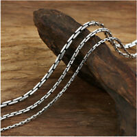 "Real Solid 925 Sterling Silver Necklace Rectangular Chain Men Women 18""-24"""