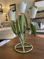 "VINTAGE LARGE METAL ART TULIP FLOWERS CANDLE HOLDER- White Metal Flowers 12""tall"