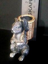 Vintage Spi San Francisco Solid Pewter Rabbit With Basket Figural