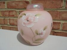 Fenton Glass Messenger Exclusive Pink Ginger Jar HP Flowers 2002 Ltd Ed w Box