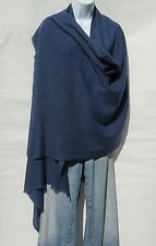 100% Cashmere|Himalayan|Shawl/Scarf|Lightweight|1Ply|Handloomed|Shade: Lead Blue