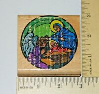Stained Glass Nativity Scene Christmas Collection Inkadinkado Rubber Stamp