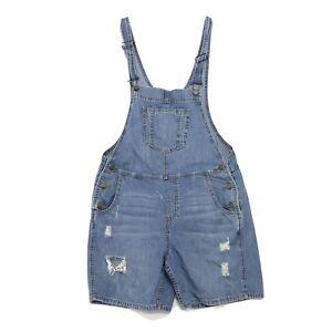GAP 1969 Distressed Denim Bib Overall Shorts Womens Sz S Small Shortalls Romper