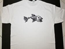 Brand New FEROCIOUS SKELETON FISH T-Shirt ferocity fishbone fish bone go fishing