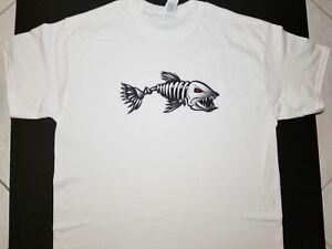 Brand New FEROCIOUS SKELETON FISH T-Shirt ferocity fishbone fish bone go fishing