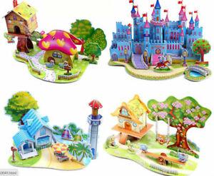 Mini 3D puzzle romantic pink blue castle princess prince beach house gift *