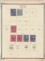 honduras stamps on 2 album page ref 13487