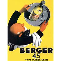 ADVERTISEMENT WINE BERGER 45 FOOD KITCHEN WAITER ART PRINT POSTER BB7338