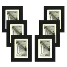 STUDIO 500 6-PACK~5X7-inch Black Wide Picture Frames Mat For 4x6 Photos