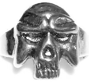 SKULL WARRIOR Metal Alloy Engraved Ring Silver Color Rock Gothic