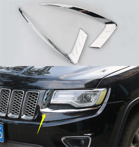 Chrome Front Headlight Decorative Strip Trim For Jeep Grand Cherokee 2014-2019