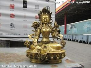 Tibet Brass Copper refined Carve Green Tara Kwan-Yin Guan Yin Bodhisattva statue