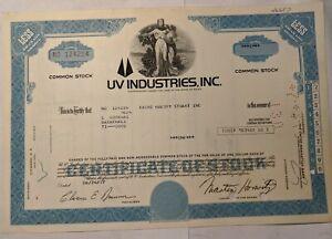 UV Industries Inc 1 share Stock Certificate 1977