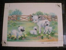 """FOUR CUTE WHITE SHEEP w/ Stone Wall 8x6"""" Greeting Card Art #14385"""