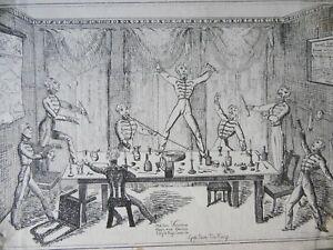 1828 Satirical Etching 'God Save the King'  Barrack Scene by Richard Hort.