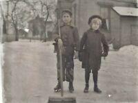 c.1900 Ice Skating Children Broom Antique Photo Glass Plate Negative