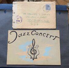 1947 GERMANY CENSOR > US +LETTER +JAZZ CONCERT MUSIC PROGRAM BOOK ! POST WWII !