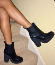 Windsor Smith Black Leather Pull On Platform Block Heel Ankle Boots 6 39