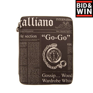 GALLIANO Clutch Bag Tablet Case Newspaper Print Zip Around Closure Made in Italy