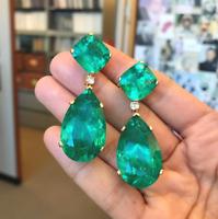 Cushion Green Emerald Diamond Dangle Drop Earrings Push Back 14K Yellow Gold Fns