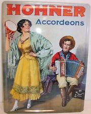 "Hohner Vintage Metal Sign, 12"" x 16"", Girl & Boy Playing Music"