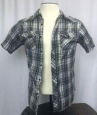 Black stripe Jack Mens Casual Button Up Plaid Shirt Size Medium