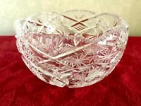 Vintage Crystal Bowl, Hand Cut, Hobstar, Pinwheel Stars, Crisscross, Sawtooth.