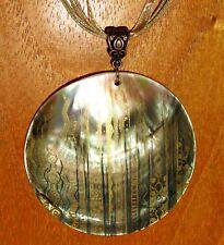 G.KLIMT reproduction peint à la main Le Golden Forêt Pendentif coquillage signé