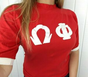 Vintage 80s Sorority Fraternity Jersey Style Russell Athletic Graphic T Shirt M