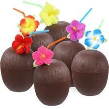 21 x Coconut Cups Hawaiian Luau Lei Hula Party Cups Drink & Straw