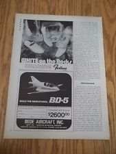 1973 VINTAGE PRINT AD FOR BEDE AIRCRAFT BUILD THE BD-5 PRODUCTION PLANE AIRPLANE