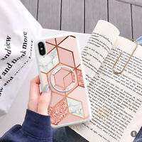 Hexagon Marble Phone Case And Text Holder Stand Phone Grip Finger Holder 115-1