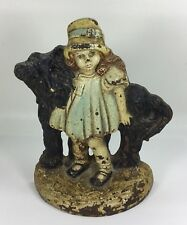 RARE Girl With Shaggy Dog Cast Iron Doorstop by Bronze Products Society, Inc