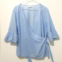 Beach Lunch Lounge Women's L Large Light Blue Faux Wrap Ruffle Sleeve Top Blouse