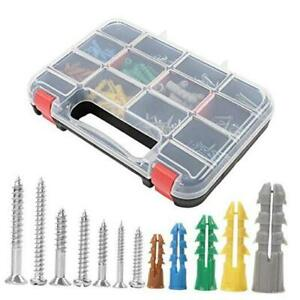 370pcs Plastic Drywall Wall Anchors Kit with Screws, Includes 5 Different