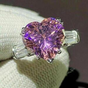 4Ct Heart Cut Pink Sapphire Diamond Women's Engagement Ring 14K White Gold Over