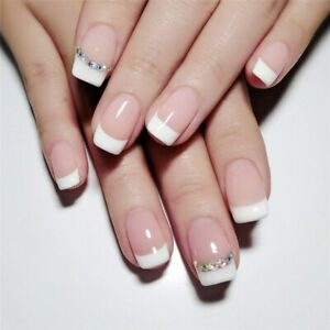 French Manicure Long Short Full Cover False Fake Nail with Rhinestone Tips White