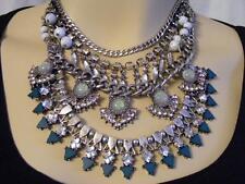 "$68 Baublebar Deco Multi Stone 4-Row Layered Chain Bib Necklace Silvertone 20"""