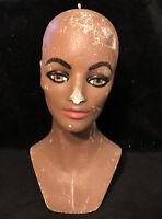 Vintage Mannequin Head Display Brown African American Woman Painted Styrofoam