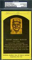 HEINIE MANUSH PSA DNA COA Autograph Gold HOF Plaque Hand Signed Authentic