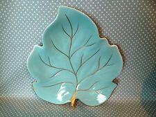 Vintage Carlton Ware Pottery large blue leaf plate. Hand painted. Serving.