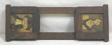Vtg Wood Book Rack Collapsible Male Colonial Imagery Man Cave 1940s