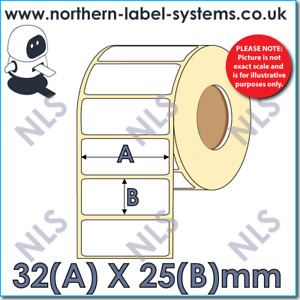 32mm x 25mm White Labels for Zebra, Citizen, Toshiba - 800261-105 Equivalent