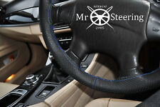 FOR MERCEDES 320 W124 PERFORATED LEATHER STEERING WHEEL COVER R BLUE DOUBLE STCH