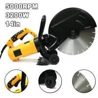 "14"" Portable Concrete Saw 3200W Corded Electric 4100 RPM w/Water Pump&Blade US"