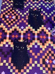 NWT Lularoe Black Cat Cats TC2 Aztec Orange Purple Black Digital NBC leggings TC