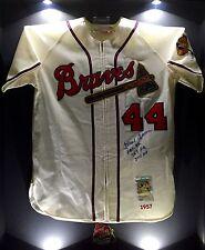 Hank Aaron Signed Authentic 1957 M&N Milwaukee Braves MLB Baseball Jersey PSA WS
