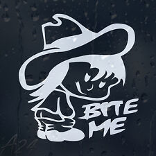 Bite Me Funny Rude Girl Car Or Laptop Decal Vinyl Sticker For Window Panel